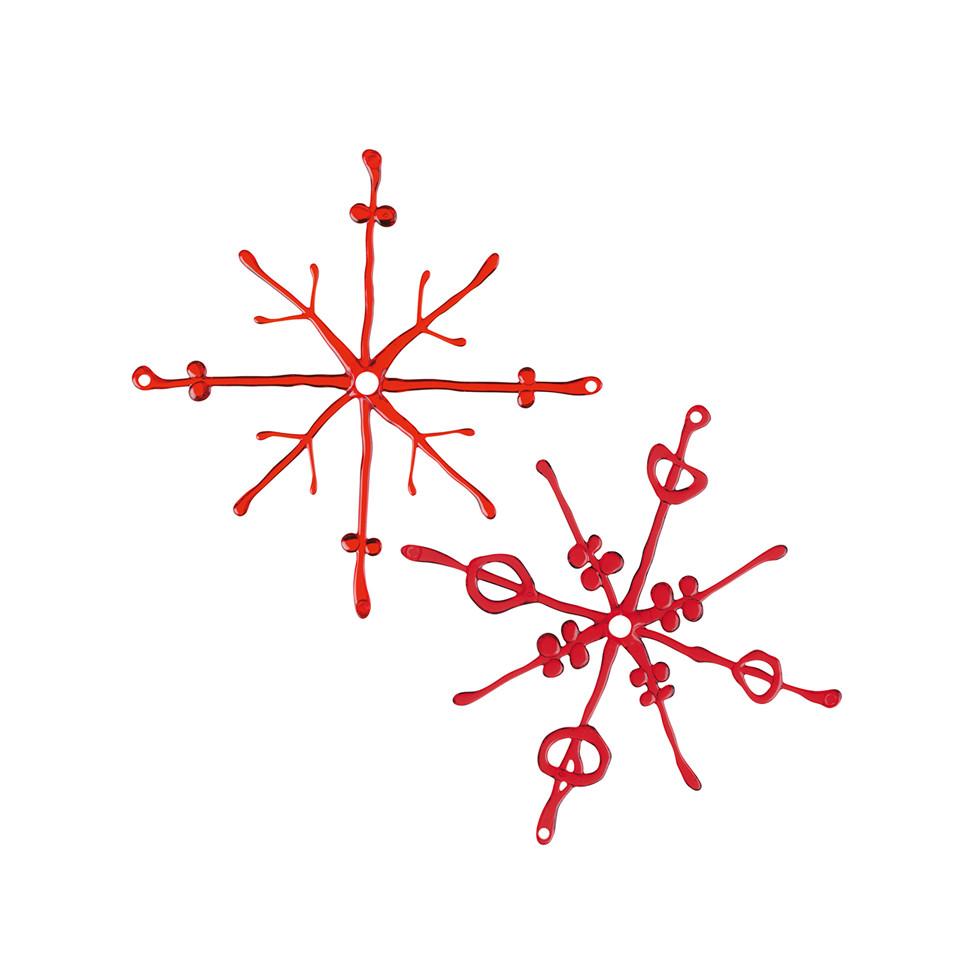 2 Dekoracje wisz±ce Koziol Flakes czerwone przezroczyste