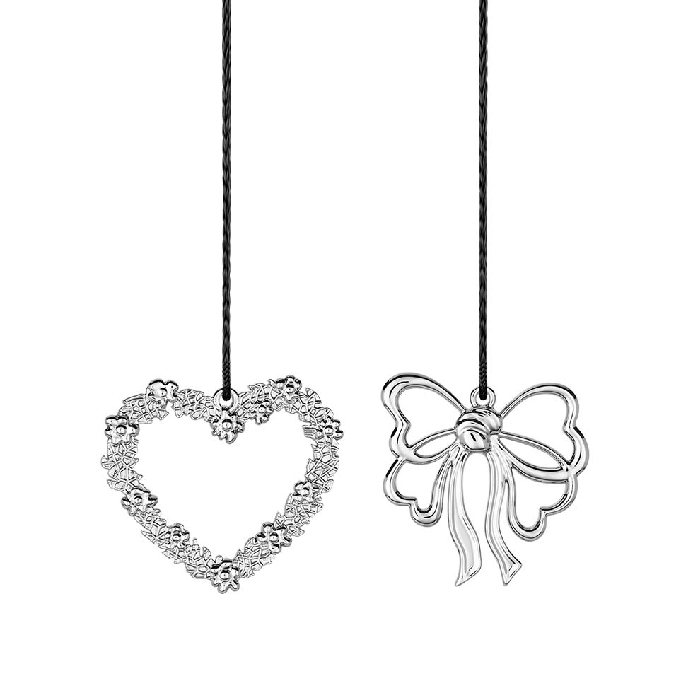 2 zawieszki serce i kokarda Rosendahl Karen Blixen h 7 cm, srebrna