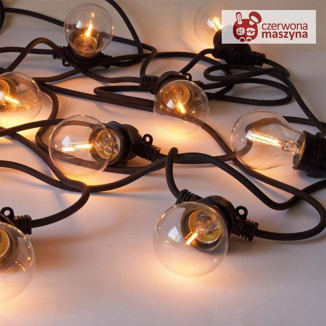 Lampki ogrodowe Seletti Bella Vista, czarne z transparentnymi żarówkami