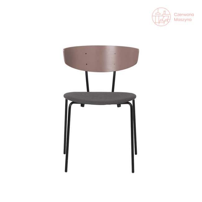 Krzesło tapicerowane ferm LIVING Herman, różowo-szare