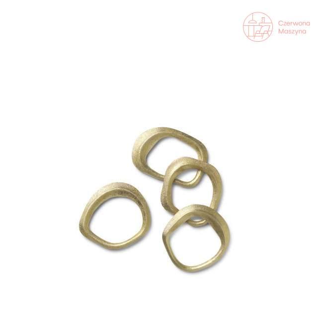 Zestaw 4 pierścieni na serwetki Ferm LIVING Flow, mosiądz