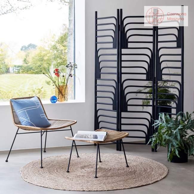 Fotel rattanowy z podnóżkiem Hübsch, nature/black
