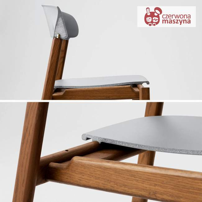 Krzesło z podłokietnikiem tapicerowane Normann Copenhagen Herit oak leather white