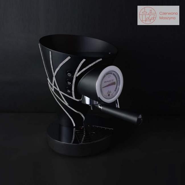 Ekspres do kawy Bugatti Diva 0,8 l, czarny, 600 kryształków Swarovskiego
