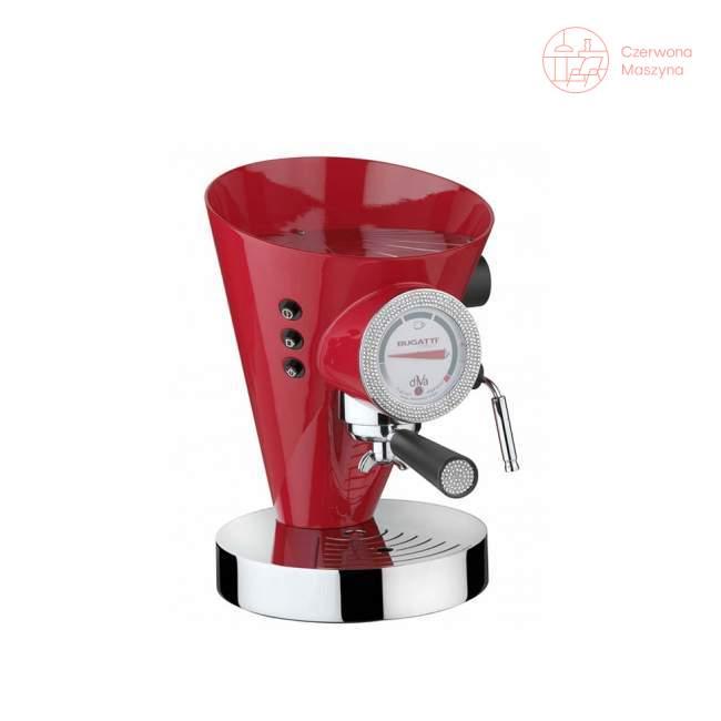 Ekspres do kawy Bugatti Diva 0,8 l, czerwony, 431 kryształków Swarovskiego