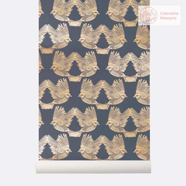 Tapeta ferm LIVING Birds Deep Blue/Gold