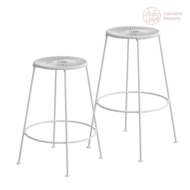 Krzesło barowe OK Design Acapulco 75 cm, białe z białymi nóżkami