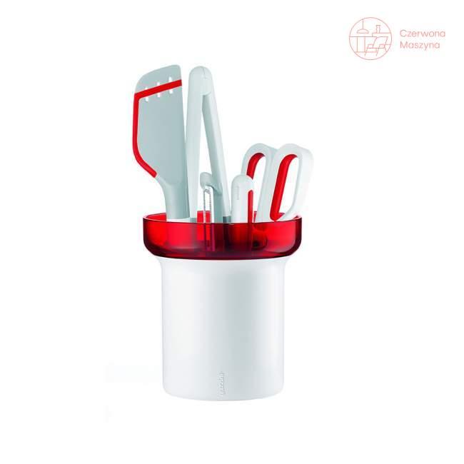Zestaw narzędzi kuchennych z pojemnikiem Guzzini My Kitchen, czerwone