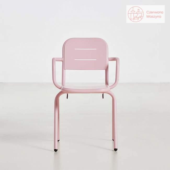 Krzesło z podłokietnikami Woud Ray różowe