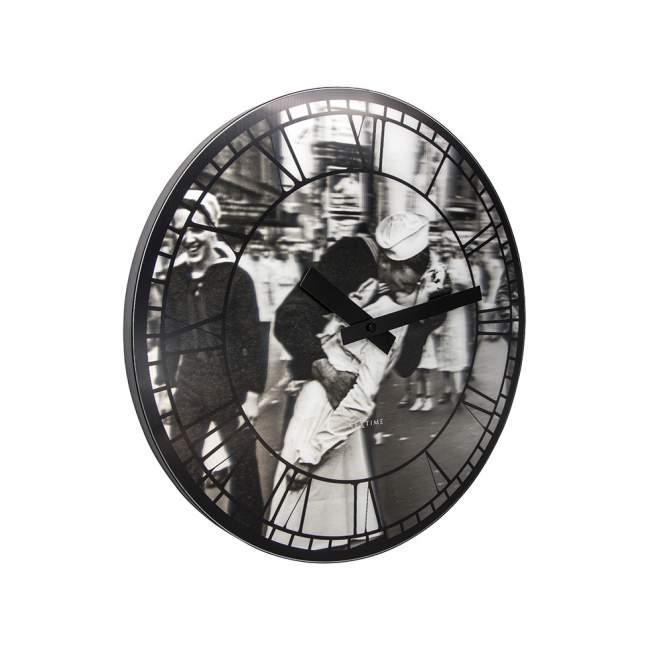 Zegar ścienny NeXtime Kiss me in New York Ø 39,5 cm