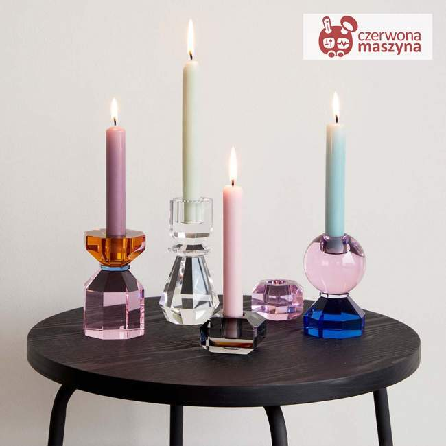Szklany świecznik Hübsch, blue/pink