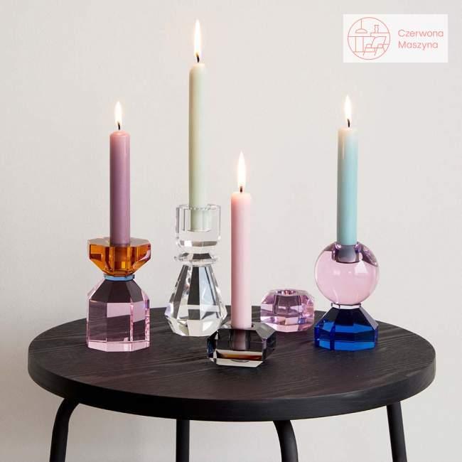 Szklany świecznik Hübsch, amber/pink