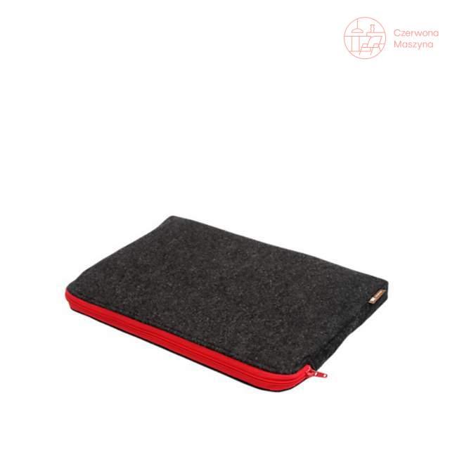 """Etui na notebook Lilyshop 15"""", ciemnoszare z czerwonym zamkiem"""