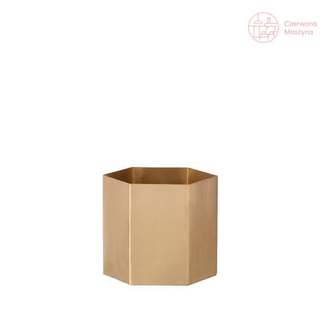 Osłonka na doniczkę ferm LIVING Hexagon 10 cm, złota