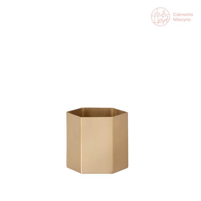 Osłonka na doniczkę ferm LIVING Hexagon 12 cm, złota