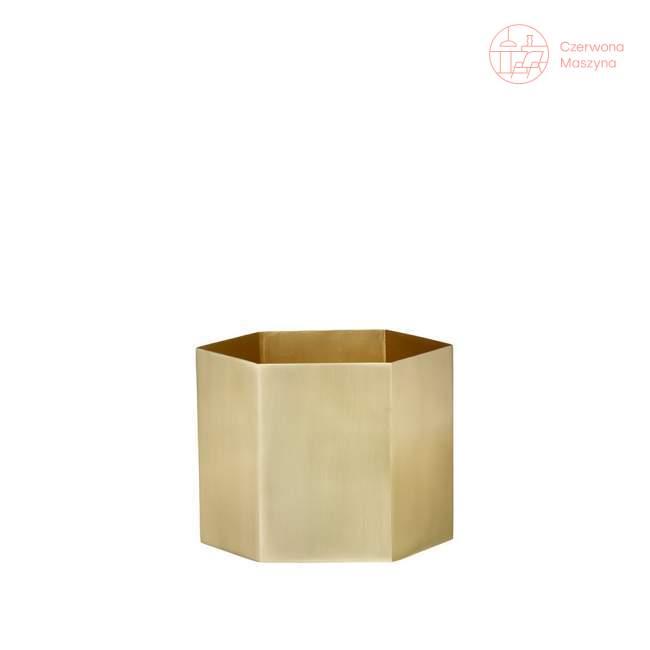 Osłonka na doniczkę ferm LIVING Hexagon 14 cm, złota