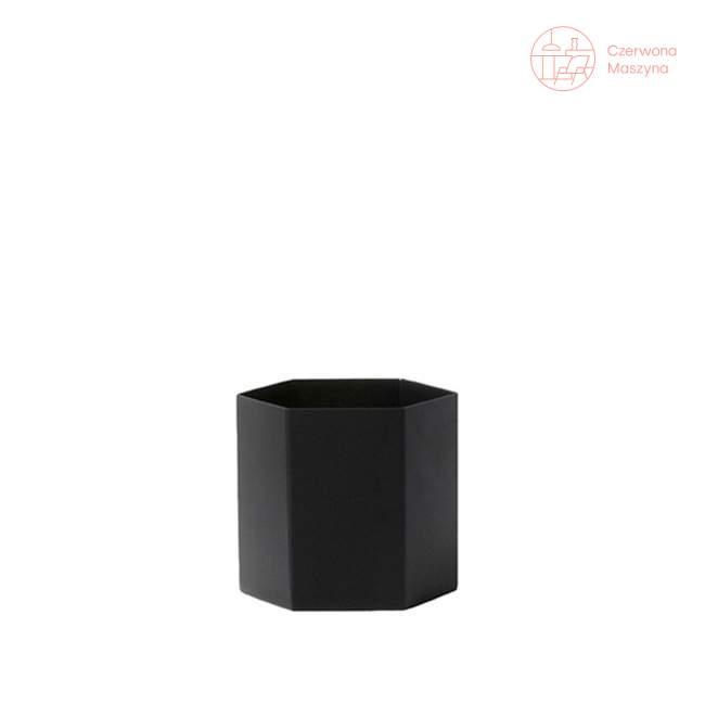Osłonka na doniczkę ferm LIVING Hexagon 12 cm, czarna