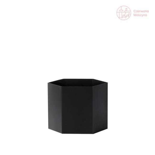 Osłonka na doniczkę ferm LIVING Hexagon 14 cm, czarna