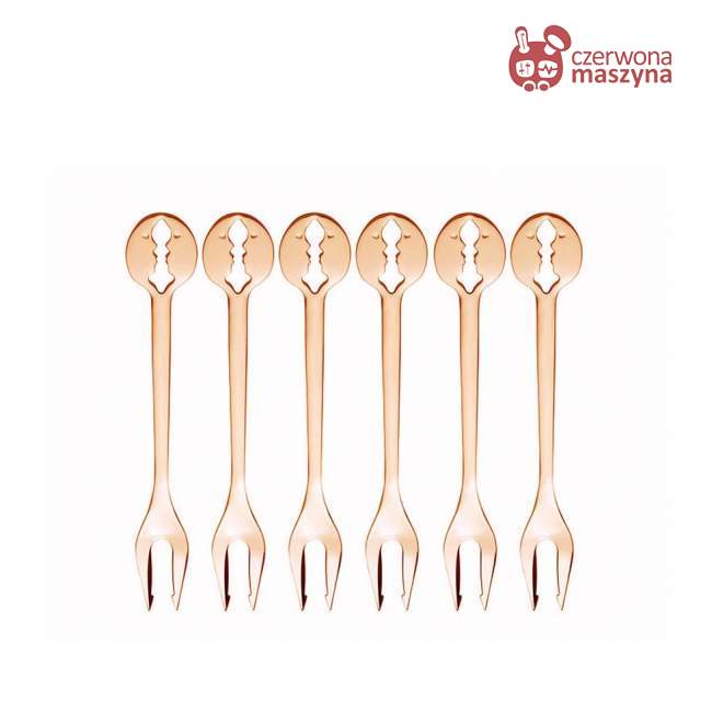 Komplet 6 widelczyków Bugatti Kiss, różowe złoto 18 karatów