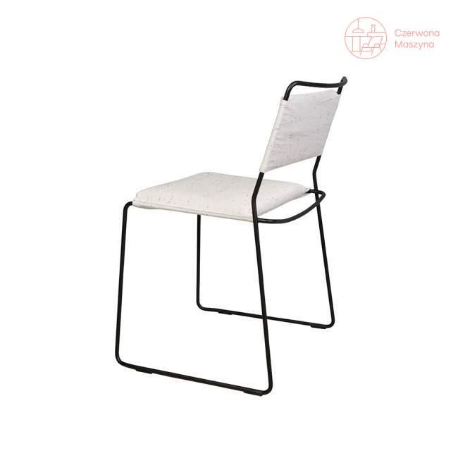 Krzesło OK Design One Wire, czarne, biała poduszka
