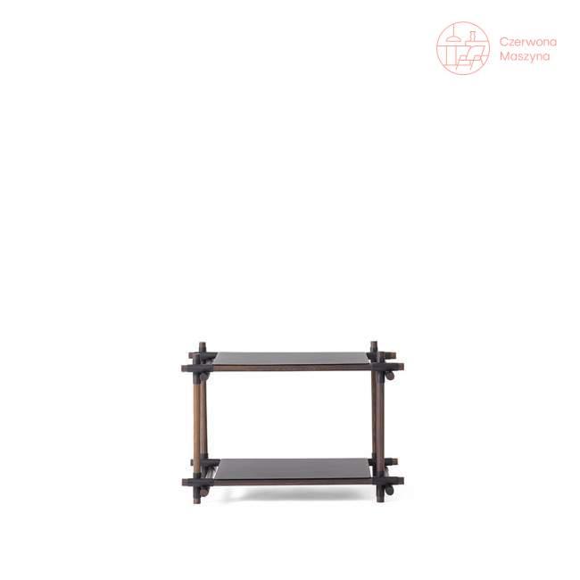 Regał systemowy Menu Stick 1x2, czarny, ciemny jesion