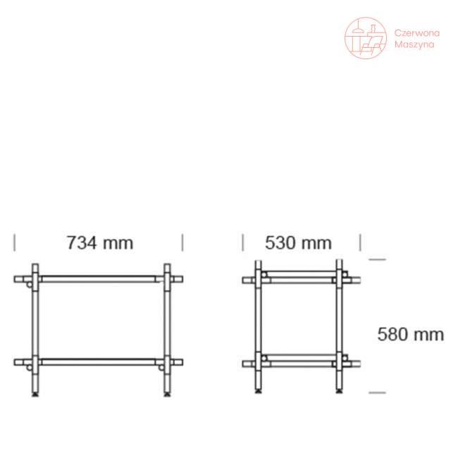 Regał systemowy Menu Stick 1x2, biały, biały jesion