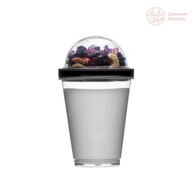 Kubek na jogurt z pojemnikiem na musli Sagaform Fresh 300 ml, czarny