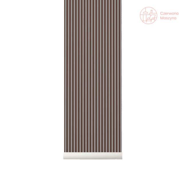 Tapeta ferm LIVING Thin Lines Bordeaux/Grey