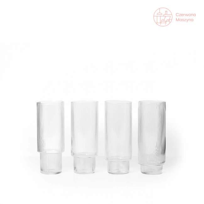 4 szklanki ferm LIVING Ripple 300 ml wysokie