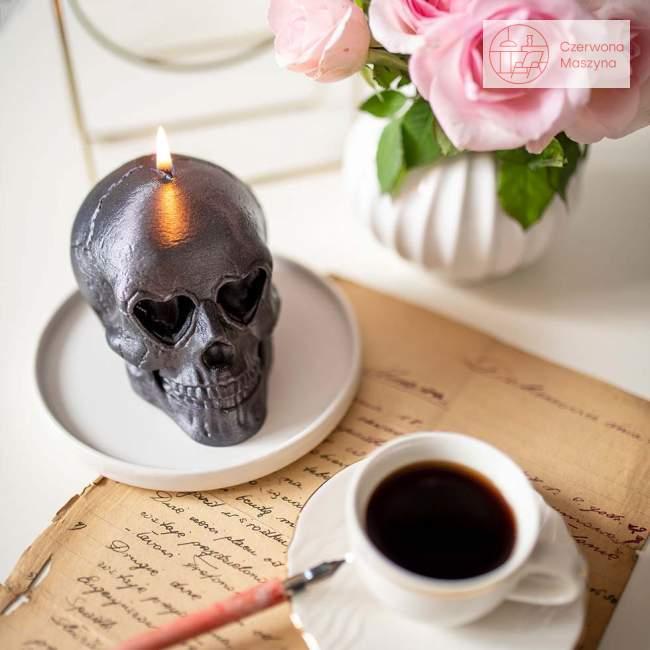Świeca All's Candle czaszka, czarny
