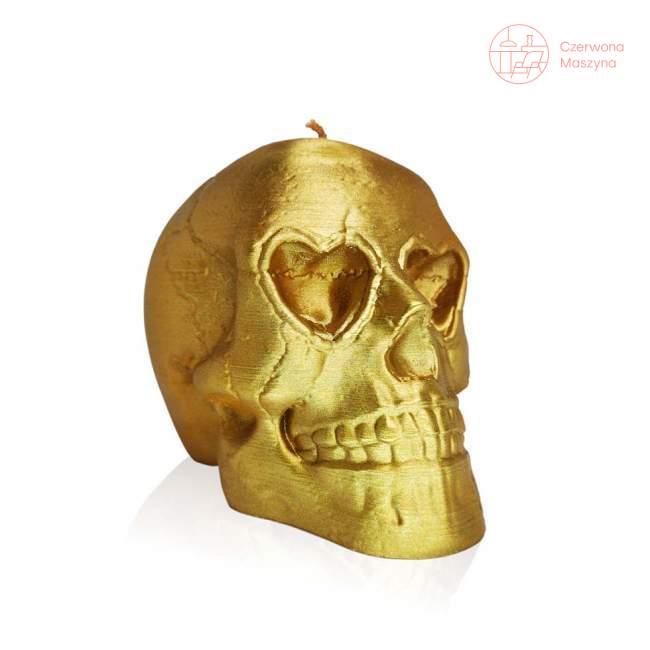 Świeca All's Candle czaszka, złoty