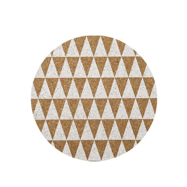 Podkładka na stół Bloomingville Ø 40 cm, w białe trójkąty