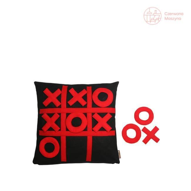Poduszka Lilyshop Gra w kółko i krzyżyk, czarno - czerwona