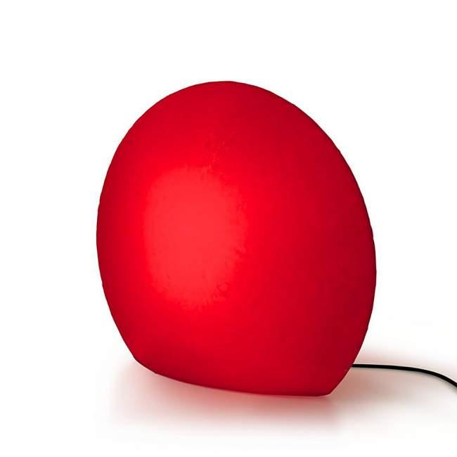 Świecący kamień ogrodowy Authentics Eggo Ø 55 cm, czerwony