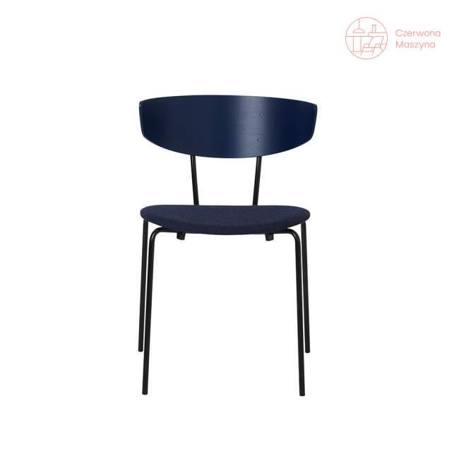 Krzesło tapicerowane ferm LIVING Herman, ciemnoniebieskie