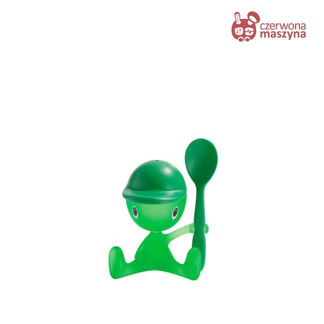 Kieliszek na jajko z solniczką i łyżeczką A di Alessi Cico zielony
