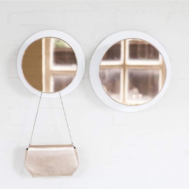 Wieszak z lustrem Serax Reflect Ø 25 cm, jasna miedź