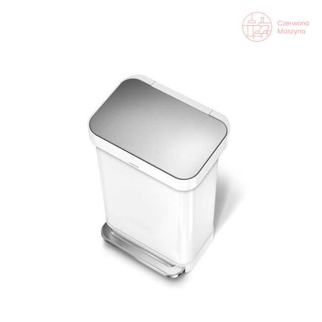 Kosz na śmieci pedałowy Simplehuman Liner Pocket 45 l, biały / srebrny