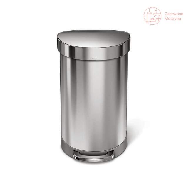 Kosz na śmieci pedałowy półokrągły Simplehuman 45 l, srebrny