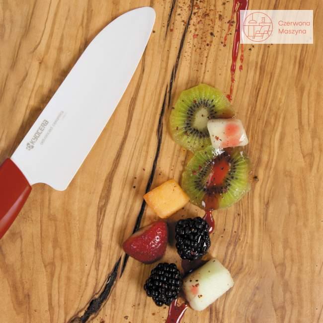 Nóż ceramiczny Santoku Kyocera White Series z czerwoną rączką, 14 cm