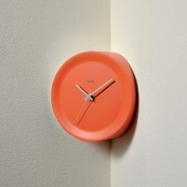 Zegar narożny Alessi Ora In Ø 21 cm, pomarańczowy