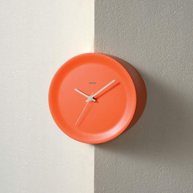 Zegar narożny Alessi Ora Out Ø 21 cm, pomarańczowy