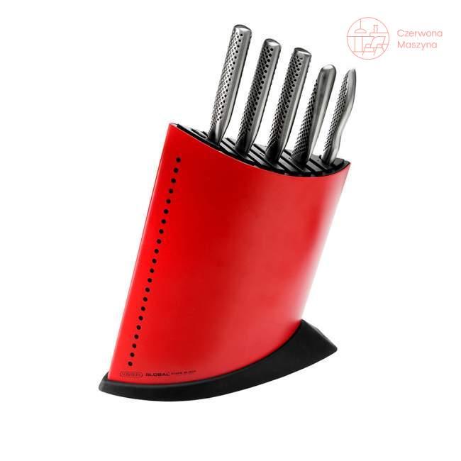 Zestaw 5 noży w bloku Global GKB, czerwony