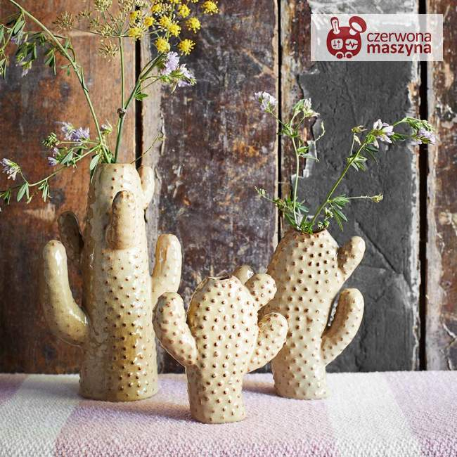 Wazon Madam Stoltz Cactus h 21 cm, beige/brown
