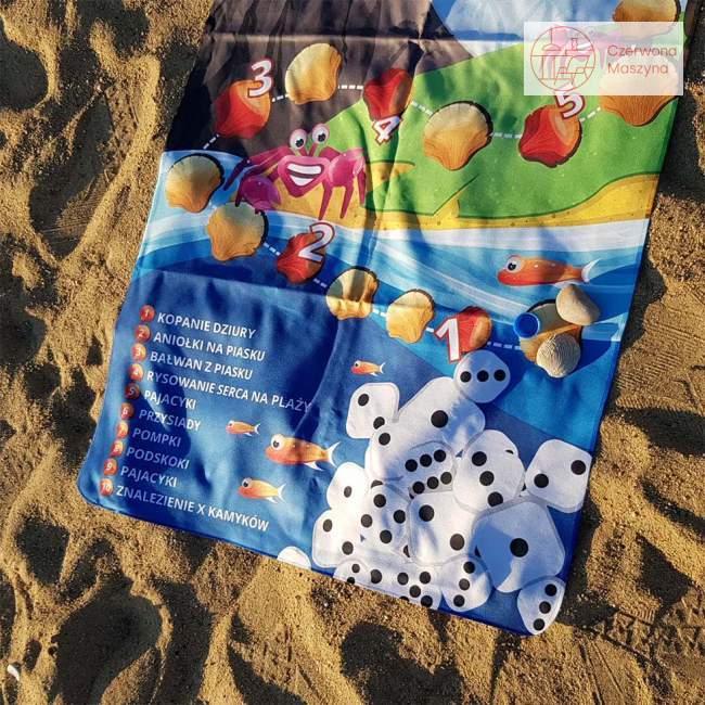Ręcznik z grą dla dzieci, plażowe zadania, Kto to kupi