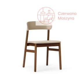 Krzesło tapicerowane Normann Copenhagen Herit smoked oak leather sand