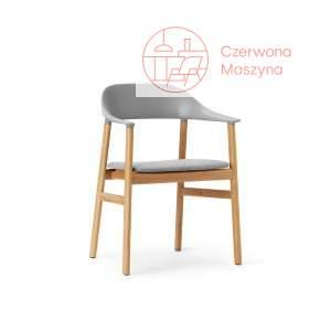 Krzesło z podłokietnikiem tapicerowane Normann Copenhagen Herit oak grey
