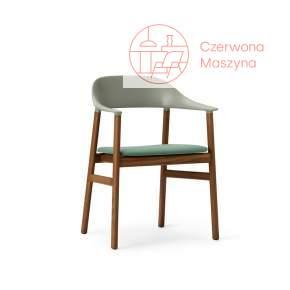 Krzesło z podłokietnikiem tapicerowane Normann Copenhagen Herit smoked oak dusty green