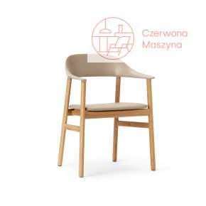 Krzesło z podłokietnikiem tapicerowane Normann Copenhagen Herit oak leather sand