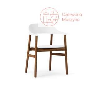 Krzesło z podłokietnikiem tapicerowane Normann Copenhagen Herit smoked oak leather white